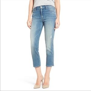 MOTHER High Waisted Rascal Crop Distressed Jeans